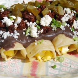 Enchiladas with Chipotle Black Bean Sauce, Chorizo and Queso Fresco