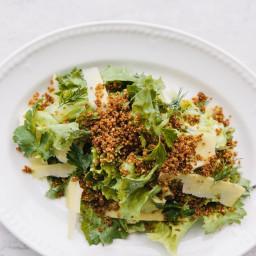 Escarole Salad with Anchovy Cream and Crispy Quinoa