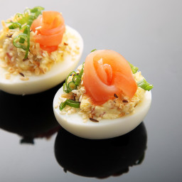 Everything Bagel Deviled Eggs (Smoked Salmon, Sesame and Caraway Seeds, and