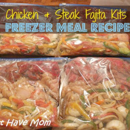 Fajita Freezer Meal Recipe ~ Chicken and Steak Fajita Kits