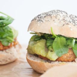 Falafel Burger With Avocado Sauce, Spinach, and Homemade Burger Buns [Vegan