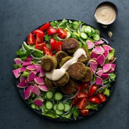 Falafel Salad with Lemon-Tahini Dressing Recipe