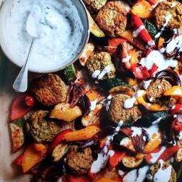 Falafel with harissa vegetables 358cals