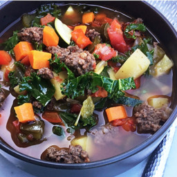 Fall Vegetables and Fullblood Wagyu Sweet Italian Sausage Soup