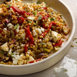 Farro and roasted red pepper salad