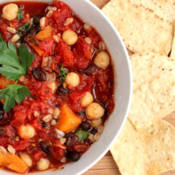 Farro, Bean and Vegetable Soup with Microwave Tortilla Chips