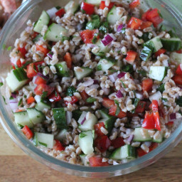 Farro Salad with Cucumber and Red Pepper