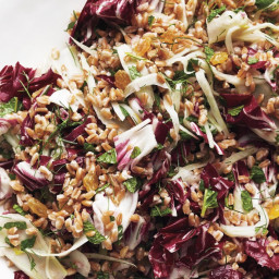 Farro Salad with Fennel, Golden Raisins, and Radicchio
