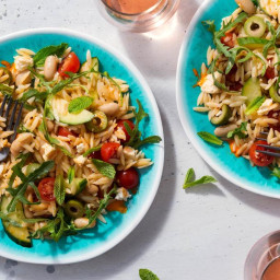 Fast Greek orzo salad with white beans, tomatoes, and feta