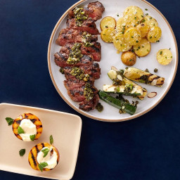 Father's Day Grilled NY Strip Steaks with Scallion Salsa Verde & Ho