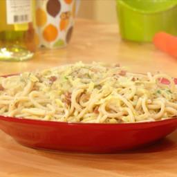 Fat Spaghetti with Bacon and Artichokes
