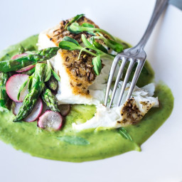 Fennel Crusted Halibut with Asparagus
