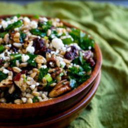 Festive Fall Farro Salad with Kale, Cranberries, Pecans and Goat Cheese