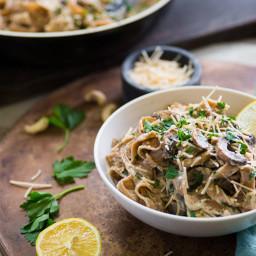 Fettuccini Alfredo with Mushroom Medley and Parmesan