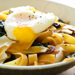 Fettuccini with Winter Greens and Poached Egg