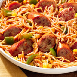 Fideos with Pan-Grilled Sausage