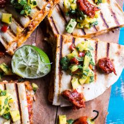 Fiesta Chicken Quesadillas with Chipotle Relish and Mango Salsa.