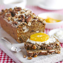 Fig, nut and seed bread with ricotta and fruit