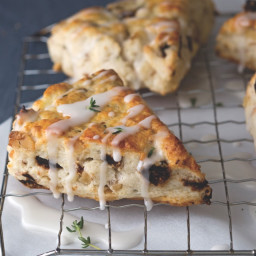 Fig, Walnut, Goat Cheese, and Thyme Scones with Thyme Glaze