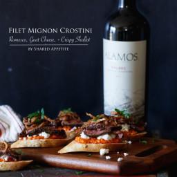 Filet Mignon Crostini with Romesco, Goat Cheese, and Crispy Shallot