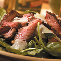 Filippo Berio Flank Steak Carpaccio-Style with Spinach and Shaved Parmesan