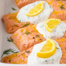 Fish dish: Baked Lemon Salmon with Creamy Dill Sauce