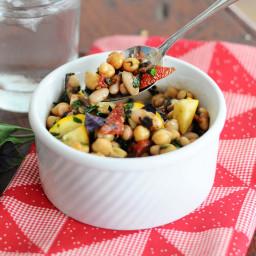 Five Minute Super Bean Sun-dried Tomato & Basil Salad {Vegan, Gluten-Free}