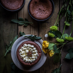 Five-spice flourless mascarpone chocolate cakes (8 of 6 oz ramekins)
