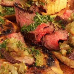 Flank Steak Crostini with Chimichurri and Vidalia Relish