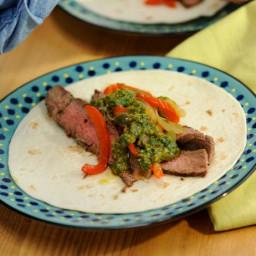 Flank Steak Fajitas with Chimichurri and Drunken Peppers
