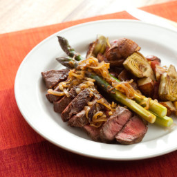 Flat Iron Steaks with Artichoke-Potato Hash,Purple Asparagus and Caramelize