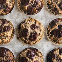 Flax Almond Meal Banana Muffins with Dark Chocolate (paleo!)
