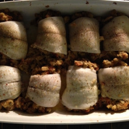 Flounder Stuffed with Clam Stuffing