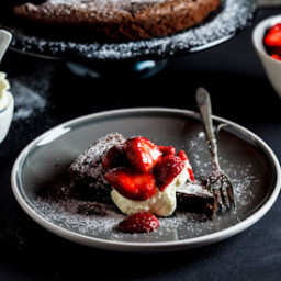 Flourless Chocolate torte with macerated strawberries {Woolworths/Masterche
