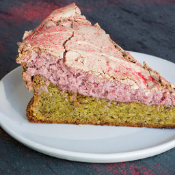 Flourless Pistachio Cake with Strawberry Meringue