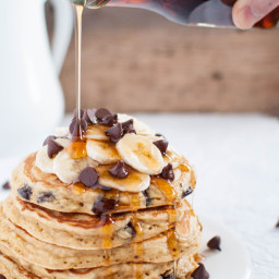 Fluffy Banana Chocolate Chip Pancakes