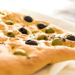 Focaccia Bread with Olives and Thyme