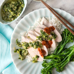Foolproof Poached Chicken with Ginger Shallot Sauce