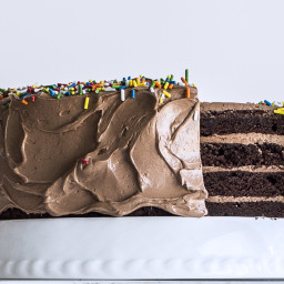 Four-Layer Chocolate Birthday Cake with Milk Chocolate Ganache and Nutella
