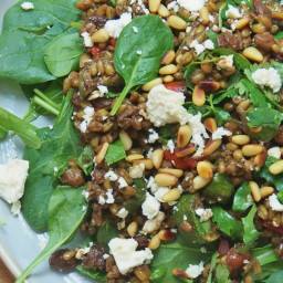 Freekeh Salad with Spinach and Pinenuts