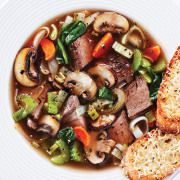 French Onion-Style Beef Vegetable Soup