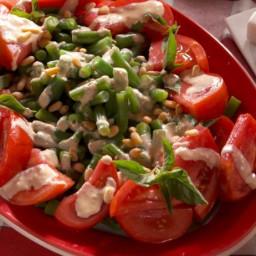 Fresh Bean and Tomato Salad with Creamy Caesar Vinaigrette