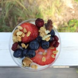 Fresh Berry Yogurt Parfait with Granola, Walnuts & Dried Fruit