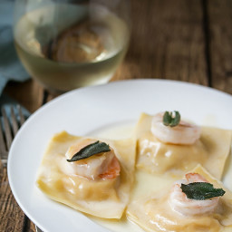Fresh Butternut Squash Ravioli with Prawns, Fried Sage and Truffle Oil Sauc