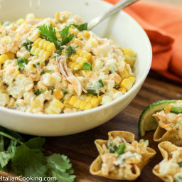 Fresh Corn Dip with Cheddar Cheese and Jalapeno