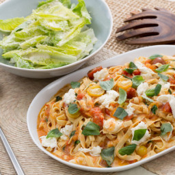 Fresh Fettuccine Pastawith Summer Tomato Sauce and Caesar-Style Salad