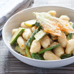 Fresh Gnocchi and Baby Zucchiniwith Crispy Squash Blossoms and Lemon Brown