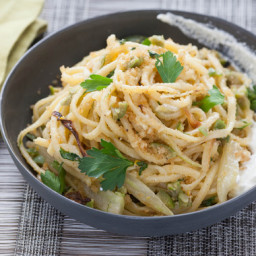 Fresh Linguine and Roasted Fennelwith Lemon Ricotta, Castelvetrano Olives a