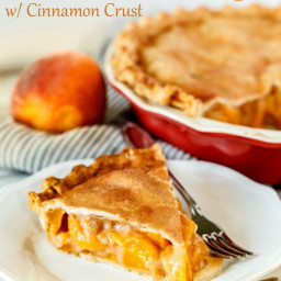 Fresh Peach Pie Recipe with cinnamon sugar crust