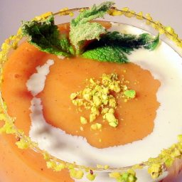 Fresh Peach Yogurt Soup w/ Pistachios & Candied Mint Leaves